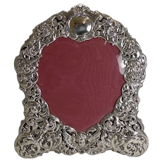 Large Antique English Sterling Silver Photograph / Picture Frame - Heart - 1898