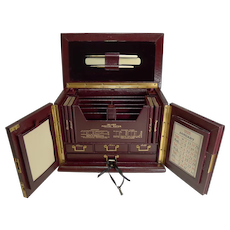 Magnificent Antique English Leather Stationery Cabinet by Thornhill, Bond St c.1900