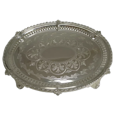 Antique English Silver Plated Oval Serving Tray / Salver c.1869