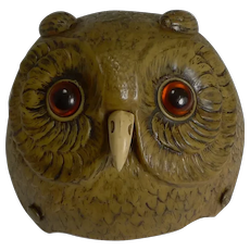 Rare Novelty / Figural Mechanical Bell In Early Celluloid c.1900 - Owl