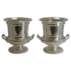 Handsome Large Pair Antique Silver Plated Wine Coolers c.1910
