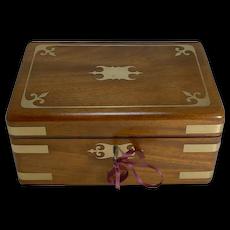 Fine Antique English Brass Inlaid Campaign Style Jewelry Box c.1860