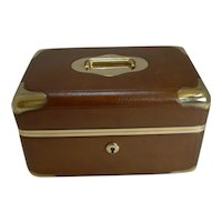 Fine Antique French Leather and Brass Jewelry Box c.1890 - Signed M.G Paris