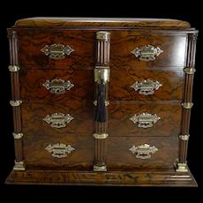 Finest Antique, English Burr Walnut and Brass Cigar Cabinet / Humidor c.1880