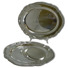 Pair Graduated Antique English Silver Plated Serving Platters by Elkington