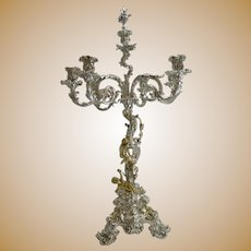 Important Six Light Silver Plated Candelabra / Centrepiece by Elkington - 1868 - Cherubs