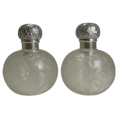 Finest Pair Antique English Sterling Topped Perfume Bottles by Asprey, London