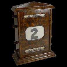 "Large (10"") Antique,English Oak Perpetual Calendar c.1900"