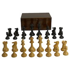 Antique English Boxwood Chess Set With Storage Box c.1910