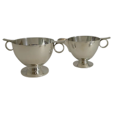 Heavy English Sterling Silver Cream and Sugar - Art Deco - London 1935