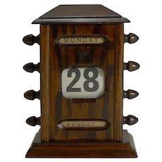 Small Antique English Oak Desk-Top Perpetual Calendar c.1900