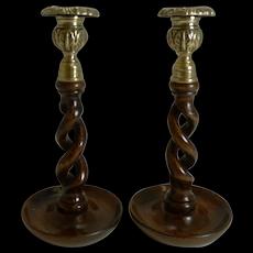 "Pair 9"" Antique English Oak Barley Twist Candlesticks - Brass Thistle Tops"