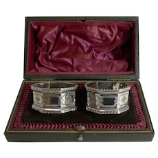 Quality Pair Antique English Sterling Silver Napkin Rings By Walker and Hall
