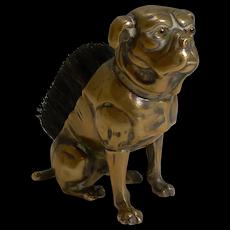 Charming Antique English Brass Figural Pen Nib Wipe - English Boxer Dog c.1890