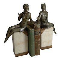 Stylish Pair Art Deco Figures Signed Salvado, France c.1920 / Bookends