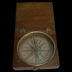 English Georgian Pocket Compass c.1800 In Mahogany Case