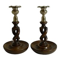 "Pair 8"" Antique English Oak Open Barley Twist Candlesticks - Brass Thistle Tops"
