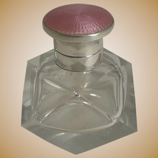 Vintage Art Deco Crystal and Sterling Silver Perfume Bottle - Pink Guilloche Enamel