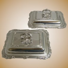 Pair Antique English Silver Plated Entree Dishes c.1890 by James Dixon and Sons.