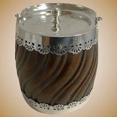 Antique English Silver Plate and Carved Oak Biscuit Box c.1900