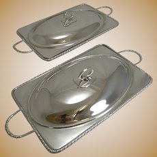Unusual Pair Antique English Silver Plated Entree Dishes by William Hutton c.1890