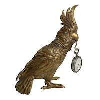 Antique Austrian Gilded Bronze Figural Pocket Watch Holder - Parrot c.1900
