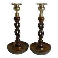 "Pair 10"" Antique English Oak Barley Twist Candlesticks - Brass Thistle Tops"