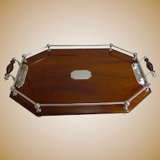 Antique English Mahogany and Silver Plate Drinks / Cocktail Tray c.1900