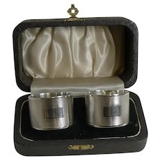 Smart Pair Cased Vintage English Sterling Silver Napkin Rings - 1945
