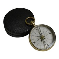Antique English Compass In Case With White Enamel Dial; Georgian C.1820