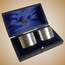 Pair Antique English Sterling Silver Napkin Rings by Henry Bourne