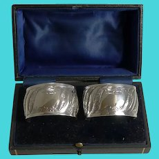 Pair Antique English Sterling Silver Napkin Rings - 1898