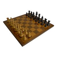 Antique English Chess Board and Chess Set c.1910