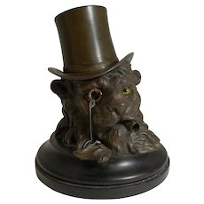 A Very Fine Antique Bronze English Lion Inkwell c.1860