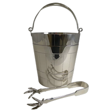 Antique English Silver Plated Ice Bucket / Pail and Tongs c.1900