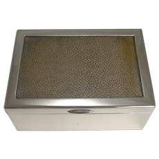 Vintage Silver Plated Cigarette Box With Shagreen - Austrian c.1930