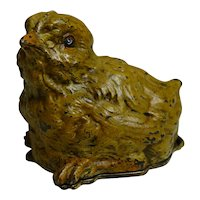 Unusual Franz Bergman Cold Painted Bronze Postage Stamp Box - Chick c.1900