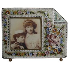 Unusual Antique Venetian Micro Mosaic Photograph / Picture Frame c.1900