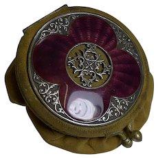 Charming Antique English Coin Purse - Stunning Purple Guilloche Enamel