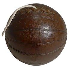 Antique English Novelty String Box / Dispenser - Football / Soccer Ball c.1900