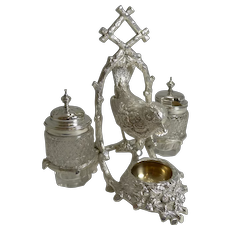 Charming Antique Silver Plated Novelty Cruet - Bird / Wren Building Nest c.1880