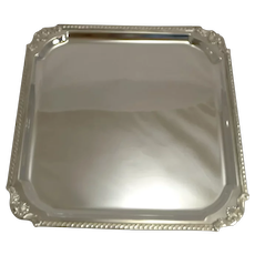 Smart Large Antique English Square Silver Plated Cocktail Tray / Salver by Mappin and Webb