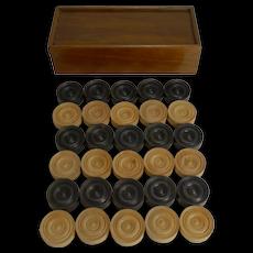 Antique English Boxed Set Ebony & Boxwood Draughts / Checkers / Backgammon Counters c. 1900
