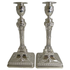 Grand Pair English Silver Plated Adams Style Candlesticks - Ram's Heads c.1880