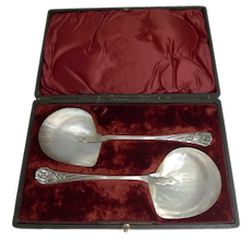 Fabulous Boxed Pair Antique English Caviar Serving Spoons by James Dixon c.1891