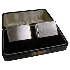 Pair English Art Deco Sterling Silver Napkin Rings - Boxed - 1939