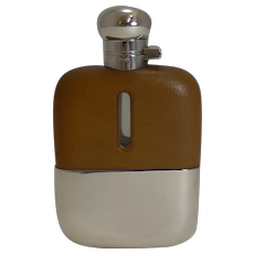 Handsome Antique English Leather and Silver Plated Liquor / Spirit / Hip Flask c.1910