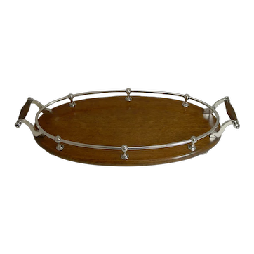 Antique English Oak and Silver Plate Drinks / Cocktail Tray c.1900
