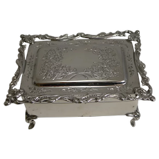 Antique English Sterling Silver Jewelry / Ring Box - 1906