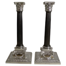 Fine Rare Pair Antique English Silver Plate and Carved Ebony Candlesticks - 1882